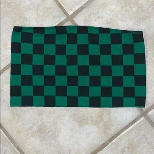 Forever 21 Green & Black Checkered Crop Top